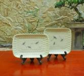 Đĩa chữ nhật lượn men xanh đồng vẽ chuồn gốm Hải Long Bát Tràng