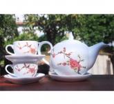 Bộ ấm trà hoa văn Hoa đào ngày xuân