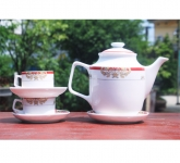 Bộ bình trà phong cách Hoàng Gia viền đỏ
