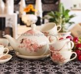 Ấm chén đẹp dáng Giang Tây men kem hoa đào gốm sứ Bát Tràng