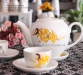 Bộ ấm chén hoa mai men trắng quà tặng gốm sứ Hải Long