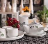 Bộ ấm trà đẹp quai ngang hoa lan tím gốm sứ Bát Tràng Hải Long