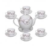Bộ ấm trà trắng in decal hoa dây kim