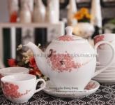 Bộ ấm trà vẽ hoa đào ngày tết Gốm sứ Hải Long