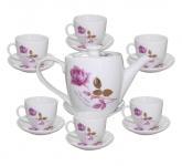 Bộ bình trà cafe decal hoa hồng, gốm sứ Bát Tràng Hải Long