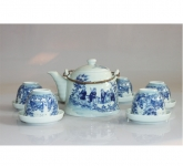 Bộ bình trà giả cổ vẽ thất thiền gốm sứ Bát Tràng