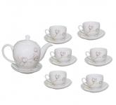 Bộ tách trà sứ đẹp decal hoa phù dung