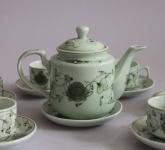 Bộ tách trà sứ siêu đẹp men xanh hoa dây gốm sứ Bát Tràng