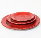 Đĩa tròn gân men đỏ Nhật Bản gốm sứ Hải Long Bát Tràng