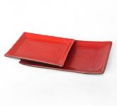 Khay chữ nhật gốm sứ men đỏ Nhật Bản