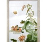 Phù điêu hoa sen đắp nổi gốm sứ Hải Long Bát Tràng