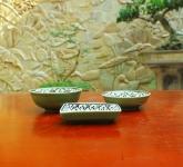 Bộ gia vị men xanh đồng vẽ bèo gốm Hải Long Bát Tràng
