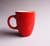 Cốc latte dáng Ý quai C men đỏ gốm Hải Long Việt Nam