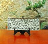 Khay bánh mỳ men xanh đồng vẽ bèo gốm Hải Long Bát Tràng