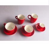 Bộ cốc cappucino, latte, espresso men đỏ gốm Hải Long