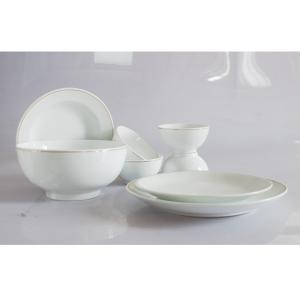 Bát đĩa sứ trắng gốm sứ Bát Tràng cao cấp kẻ Chỉ Vàng Kim tuyệt đẹp
